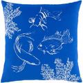 """Rosecliff Heights Carnsampson Sea Life Cotton 18"""" Throw Pillow Cover Cotton in White, Size 18.0 H x 18.0 W x 0.25 D in 