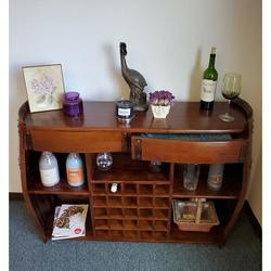 Red Barrel Studio® Adline Double Drawer Wine Barrel Mini BarWood in Brown, Size 36.0 H x 62.0 W x 16.0 D in | Wayfair