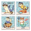 Breakwater Bay Salty Cats Coaster Stoneware in Blue, Size 0.5 H x 0.63 D in   Wayfair BEA00823C53C43728FD745501CB588CF