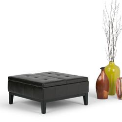 Dover 36 inch Wide Contemporary Square Coffee Table Storage Ottoman in Tanners Brown Faux Leather - Simpli Home 3AXC-OTT235