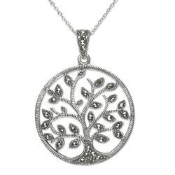 Marcasite pendant necklace, 'Irish Tree of Life'
