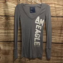 American Eagle Outfitters Tops   Ae Ls Shirt   Color: Gray/White   Size: S