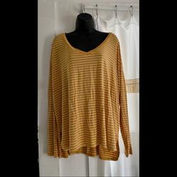 American Eagle Outfitters Tops | Ae Soft And Sexy Ls Top | Color: White/Yellow | Size: Xl