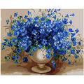 DFGDFG Thème Peinture Numérique Toile Toile Murale Bleu Tentation du Vase Fleur Cadeau Salon décoration Enfants Adultes Dessin 40x50 cm