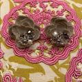 Anthropologie Jewelry | Anthropologie Cloth Flower Stud Earrings | Color: Gray/Silver | Size: Os