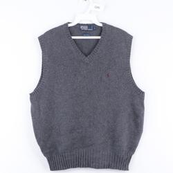 Polo By Ralph Lauren Sweaters | 90s Polo Ralph Lauren Mens Large Sweater Vest Gray | Color: Blue/Gray | Size: L