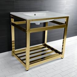 Kingston Brass Ceramic Rectangular Console Bathroom Sink w/ Overflow in White/Yellow, Size 31.25 H x 31.13 W x 22.06 D in | Wayfair VWP3122W4A2