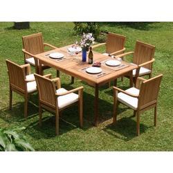 Rosecliff Heights Hamerton Luxurious 7 Piece Teak Dining Set Wood in Brown/White, Size 29.5 H x 71.0 W x 40.0 D in | Wayfair