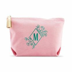 Latitude Run® Alexondra Personalized Makeup & Cosmetic Bag Organizer in Pink/Gray/Green, Size 7.0 H x 11.0 W x 3.5 D in   Wayfair