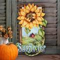 The Holiday Aisle® Tidaholm Sunflower Wooden Door HangerWood in Brown/Green/Yellow, Size 24.0 H x 18.0 W x 0.5 D in | Wayfair
