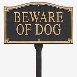 """Beware of Dog"""" Statement Marker by Whitehall Products in Black Gol"""