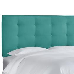 Button Tufted Headboard by Skyline Furniture in Premier Azure (Size FULL)