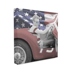 Stupell Industries Flag Car Vintage Hollywood Movie Star Classic Illustration XL Stretched Canvas Wall Art by Jadei Graphics, Multicolor, 30X30