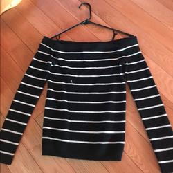 American Eagle Outfitters Sweaters   Black And White Striped Off The Shoulder Sweater   Color: Black/White   Size: M