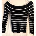 American Eagle Outfitters Sweaters | American Eagle Off The Shoulder Sweater | Color: Black/White | Size: Xs