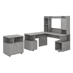 Kathy Ireland by Bush Industries Madison Avenue 60W L Shaped Desk w Hutch and Lateral File Cabinet - MDS013MG
