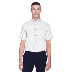 Harriton M500S Men's Easy Blend Short-Sleeve Twill Shirt with Stain-Release in White size XS