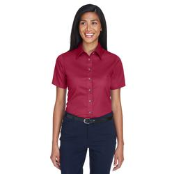 Harriton M500SW Women's Easy Blend Short-Sleeve Twill Shirt with Stain-Release in Wine size Large