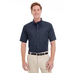 Harriton M582 Men's Foundation Cotton Short-Sleeve Twill Shirt with Teflon in Dark Navy Blue size Large