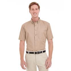 Harriton M582 Men's Foundation Cotton Short-Sleeve Twill Shirt with Teflon in Khaki size 2XL