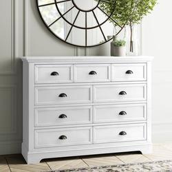 Birch Lane™ Lovette 9 Drawer Double DresserWood in White, Size 43.5 H x 58.0 W x 18.0 D in   Wayfair 826D26DCC3A44A8FB9A7280D33D7BD8E