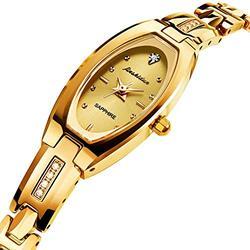 JSDUN Women Mini Slim Watches Girls Diamond Watches for Her Analog Quartz Watches Tungsten Steel Watchband