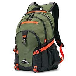 High Sierra Loop Backpack, School, Travel, or Work Bookbag with tablet sleeve, Forest Green/Electric Orange, One Size