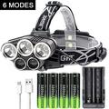 2500LM USB Rechargeable Headlamp Waterproof 6-Modes Adjustable Head Light Super Bright HeadLight Best for Walking,Outdor,Camping+ 4x18650 Batteries+1x Battery Charger