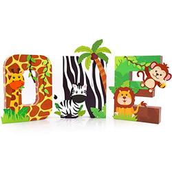 Safari ONE Letter Sign Jungle Animals First Birthday Decorations Paper Mache Letters Cake Smash Props Freestanding Decorative Letter Set for Jungle Safari Boy Birthday Party Supplies