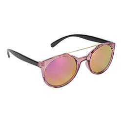 Tickled Pink Classic Oversized Sunglasses Polarized Round, Crystal Purple Frame/Red Revo Lens