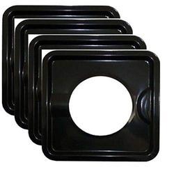 "KANIZZ HEAVY DUTY BLACK STEEL SQUARE REUSABLE GAS BURNER BIB LINER COVERS DRIP PAN STOVE BURNER COVER 7.8"" x 7.8"" SET OF 4 PCS."