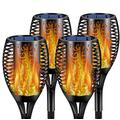 Moclever 4PCS Flame Solar Torch Light, 96 LED Waterproof Landscape Garden Pathway Light with Vivid Dancing Flickering Flames, Auto On/Off Dusk to Dawn, for Christmas Lights(Outdoor)