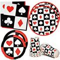 """Casino Night Poker Game Party Supplies Tableware Set 24 9"""" Dinner Plates 24 7"""" Plate 24 9 Oz. Cups 50 Lunch Napkins for Card Playing Club Heart Spade Black & Red Theme Disposable Birthday Paper Goods"""