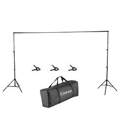NMFIN Backdrop Support Stand, 9.8 x 6.5 ft Frame Muslin Backdrop Stands with 3 Fish Mouth Clips and Carrying Bag for Photography Video Studio Setting
