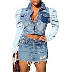 Jackets for Women Winter Jean Long Sleeve Classic Distressed Denim Coats Trucker Jackets