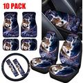 LedBack Tribal Wolves Bucket Seat Cover Floor Mat Foot Pads Set Car Armrest Covers Wheel Protectors Shoulder Seatbelt Pads Vehicle Car Accessories Gift 10 Pack