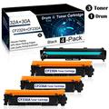 4 Pack(3PK 30A|CF230A Toner+1PK 32A|CF232A Drum) Black Compatible Drum &Toner Cartridge for HP Laserjet Pro M203dn M203dw M203d MFP M227sdn MFP M227fdw MFP M227fdn Printer Toner Cartridge.