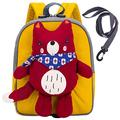 willikiva Bear 3d Fox Plush Doll Baby Kid Backpacks for Boys and Girls Toy Bag Toddler Backpack Preschool Safety Harness Leash(Red)