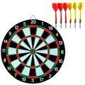 BESPORTBLE 12 Inches Flocking Dart Board with 6pcs Darts, 1 Set Leisure Game Dartboard Set Board Games (Random Color Dart)