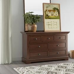 Greyleigh™ Alicea 7 Drawer Dresser Wood in Brown, Size 34.75 H x 58.0 W x 18.0 D in | Wayfair C118E8940C1A4EE7A31C872CC8C10C4F