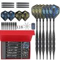Joso Darts Plastic Tip, 6 Pack 17 Grams Soft Tip Darts Set, Aluminum Shafts & 18 Flag Flights with Portable Gift Box Case for Beginner and Professional