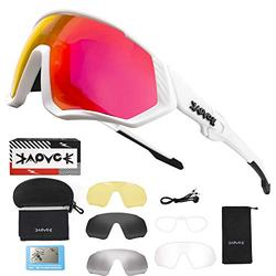 YTUR Polarized Sports Sunglasses Cycling Glasses with 4 Interchangeable Lenses,Mens Womens Cycling Glasses,Baseball Running Fishing Ski Running Golf Driving Sunglasses