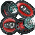 "Audiobank 6x9 700W 3-Way + 6.5"" 400W 4-Way Car Audio Stereo Coaxial Speakers"