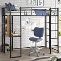"Twin Metal Loft Bed with Desk and Shelves, OUSING Twin Size Loft Bed Frame with Guardrails and Slats Support, Twin Loft Bed with Space Saving Design, No Box Spring Needed, Easy Assembly (71.7"", Black)"