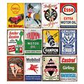 12 Pieces Gas and Oil Tin Signs, Retro Vintage Metal Sign for Home Man Cave Garage, 8x12 Inch/20x30cm