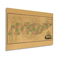 Historix Vintage 1832 Tennessee State Map - 16 x 24 Inch Vintage Map Wall Decor - Historical Map of Tennessee - Tennessee Wall Art - State Maps Tennessee - Tennessee Map Art - TN Map (2 Sizes)