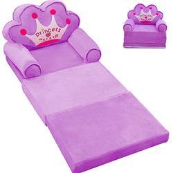 "MOCOHANA Plush Foldable Kids Sofa Backrest Chair Children's Flip Open Sofa Bed Kids Upholstered Foam Chair Toddler Recliner Cute Cartoon Toddler Armchair for Living Room Bedroom 45.3"" Purple"