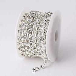10Yard/Roll 6mm Silver Base Clear Glass Crystal Rhinestones Sew On Cup Chain-Crystal Rhinestones for Crafts-Crystal Rhinestones for Sewing-Rhinestone Close Chain-Rhinestone Chain for Jewelry Making