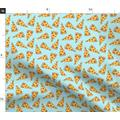 Spoonflower Fabric - Pizza Light Blue Pastel Junk Food Kids 90S Pizzas Printed on Petal Signature Cotton Fabric by The Yard - Sewing Quilting Apparel Crafts Decor