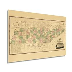Historix Vintage 1832 Tennessee State Map - 24 x 36 Inch Vintage Map Wall Decor - Historical Map of Tennessee - Tennessee Wall Art - State Maps Tennessee - Tennessee Map Art - TN Map (2 Sizes)